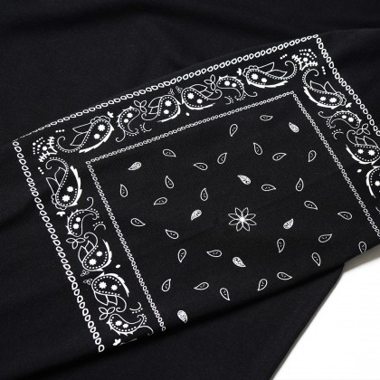 Paisley Sleeve Printed Loose Long Sleeve Tee | Black - 65