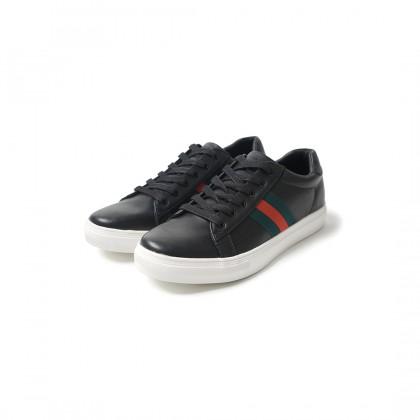 High Cultured Side-Striped Vegan Leather Sneaker | Black - 331