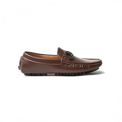 High Cultured Chained Leather Horsebit Loafers | Brown - 337