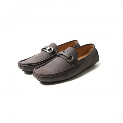High Cultured Double Chained with Metal Strap Horsebit Loafers | Grey - 338