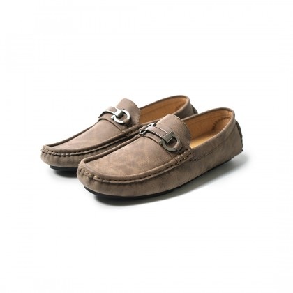 High Cultured Double Chained with Metal Strap Horsebit Loafers   Khaki - 338