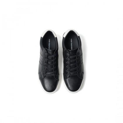 High Cultured Classic Tennis Vegan Leather Sneakers   Black - 343