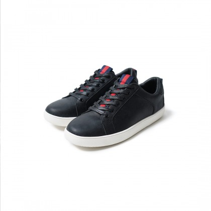 High Cultured Striped Sporty Vegan Leather Sneakers   Black - 351