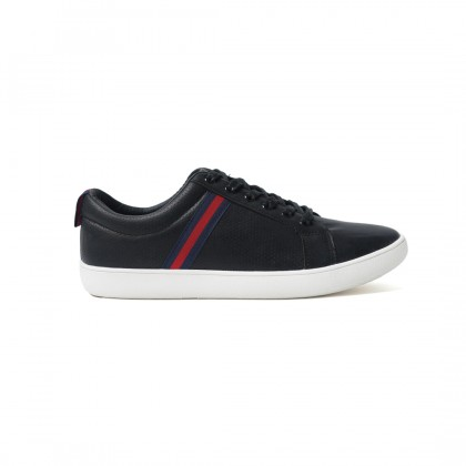 High Cultured Thin Striped Vegan Leather Sneakers | Black - 352